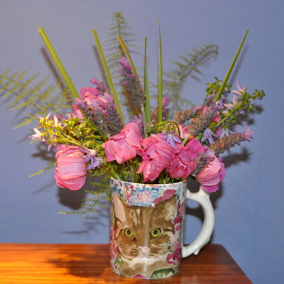 Cosmos, Lavender and Bluebells in a vase