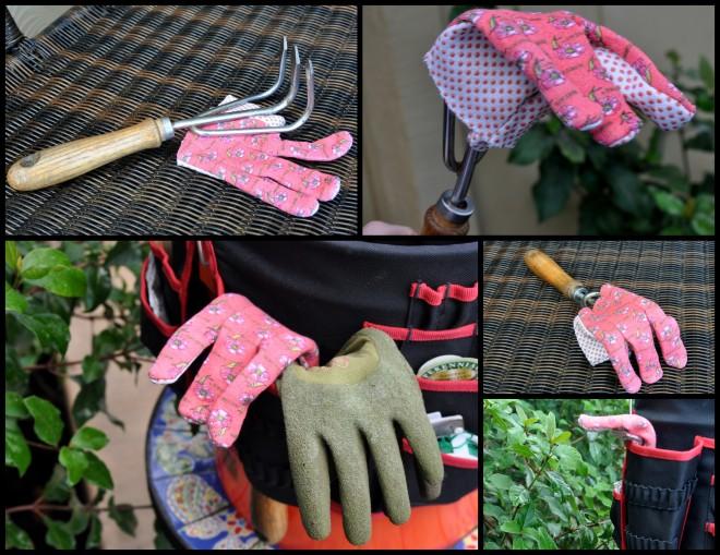 Gloved garden fork