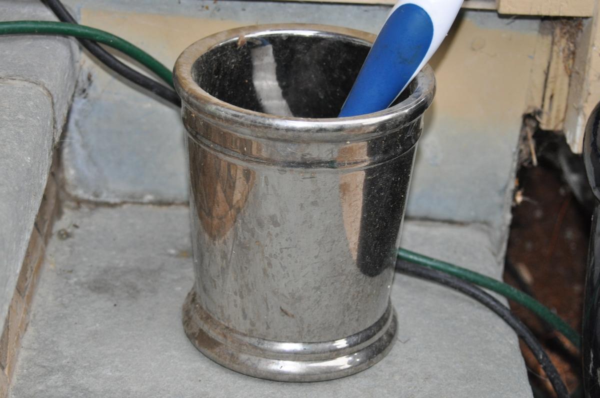 Shiny pot with brush