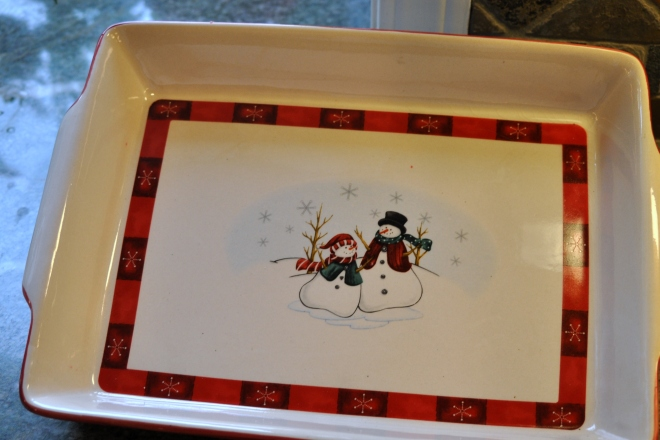 snowman casserole dish