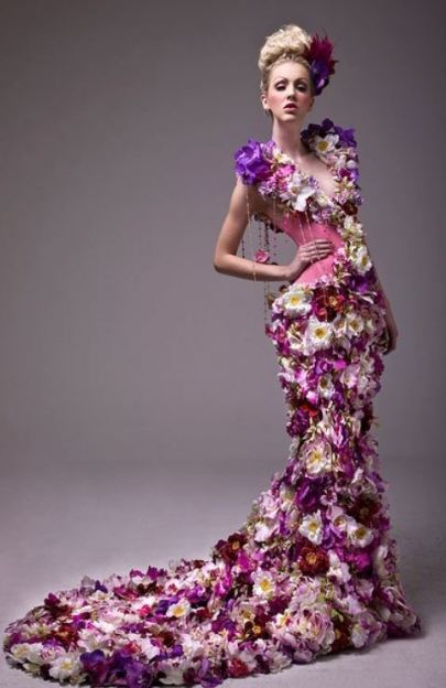 trailing flower dress