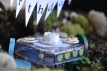 birthday cake in the apple fairy garden