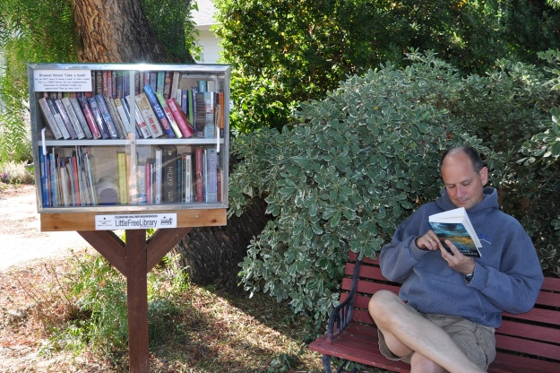Little Free Library and a bench