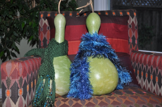 birdhouse gourds with scarves