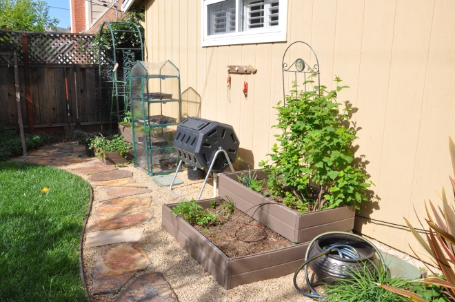Planter boxes, rotating composter, mini-greenhouse and worm bin