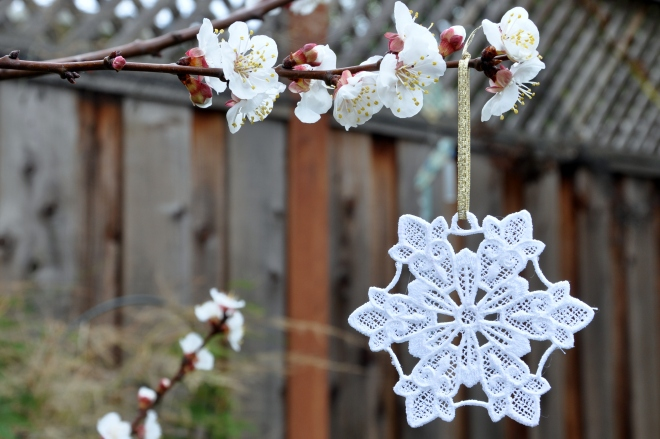 Embroidered lace snowflake