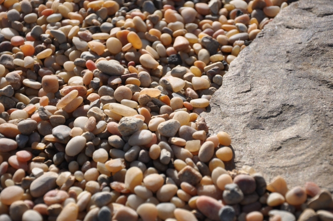 Colored pebbles and slate stepping stones
