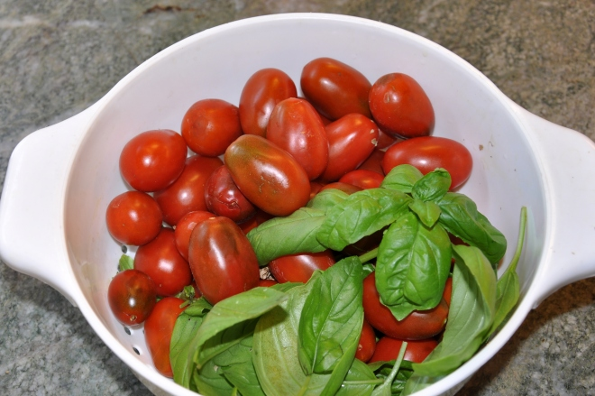 heirloom tomatoes and fresh basil