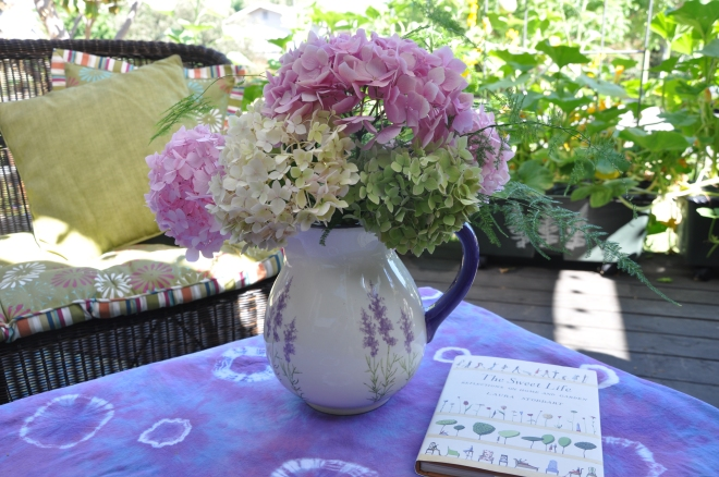 hydrangeas in a vase with book