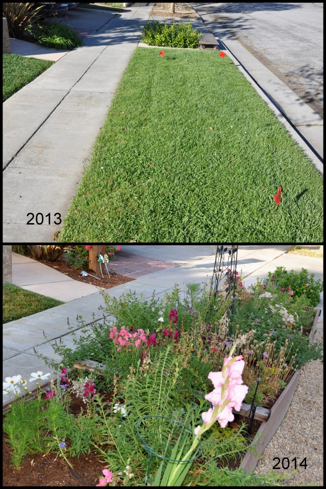 Sidewalk strip before and after