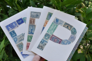 Initial cards made with vintage postage stamps