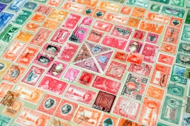 Postage Stamp table close-up