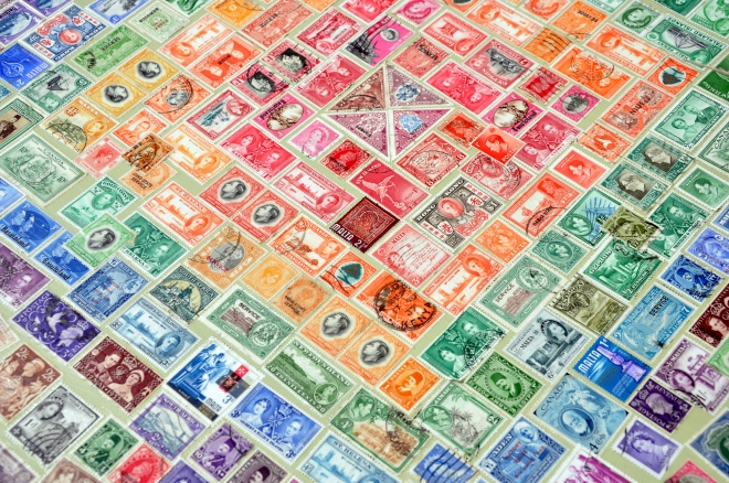 postage stamp table top with triangle center