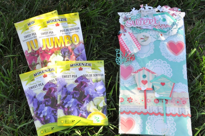 sweet pea seeds and gift bag