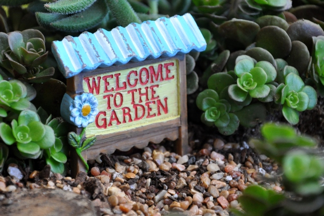fairy garden welcome to the garden sign