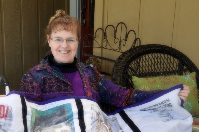 Sharon with quilt