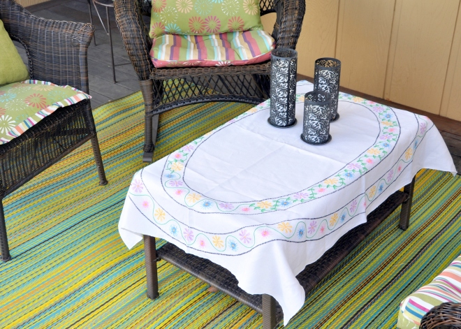 kerry can table cloth vintage