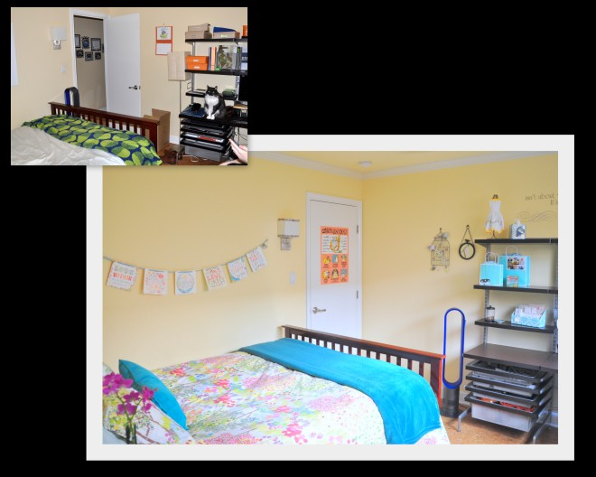 gurest room facing door view before and after