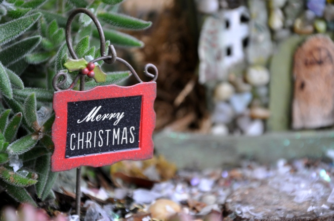 fairy garden merry christmas sign
