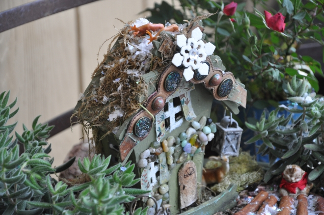 fairy garden with reindeer