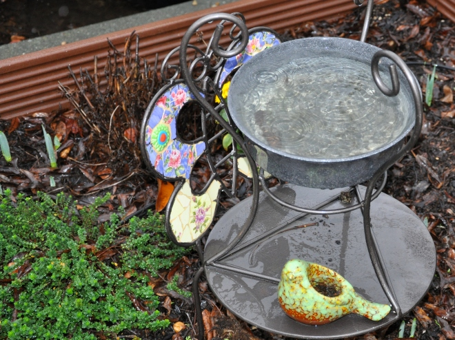 bird bath bowl in the rain