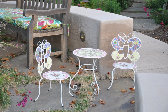 child's table and chairs white mosaic