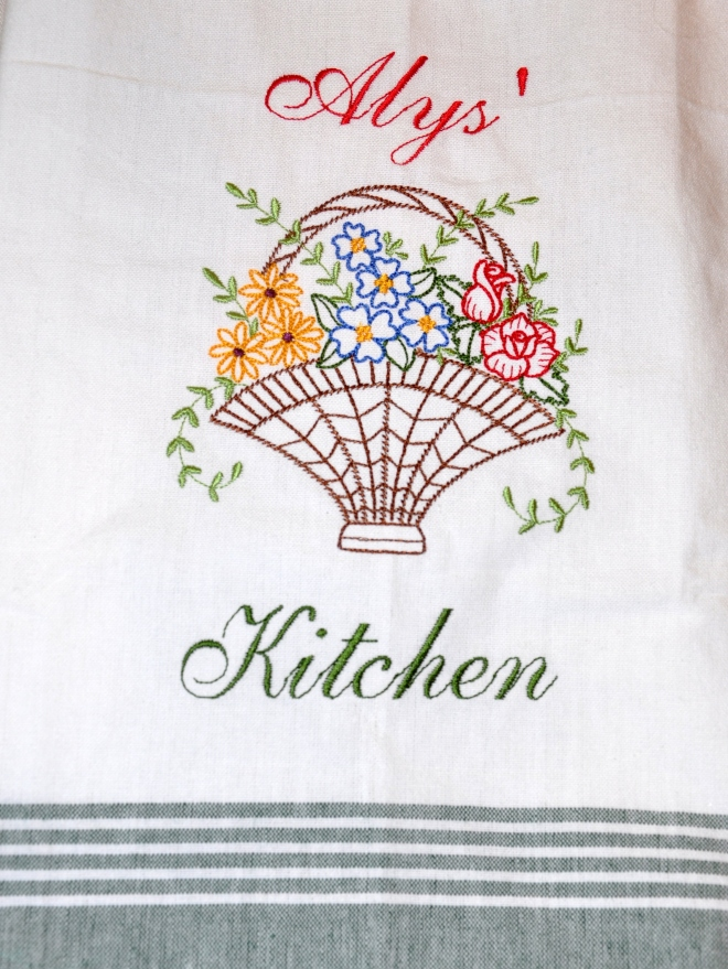 Marlene's embroidery Alys' kitchen