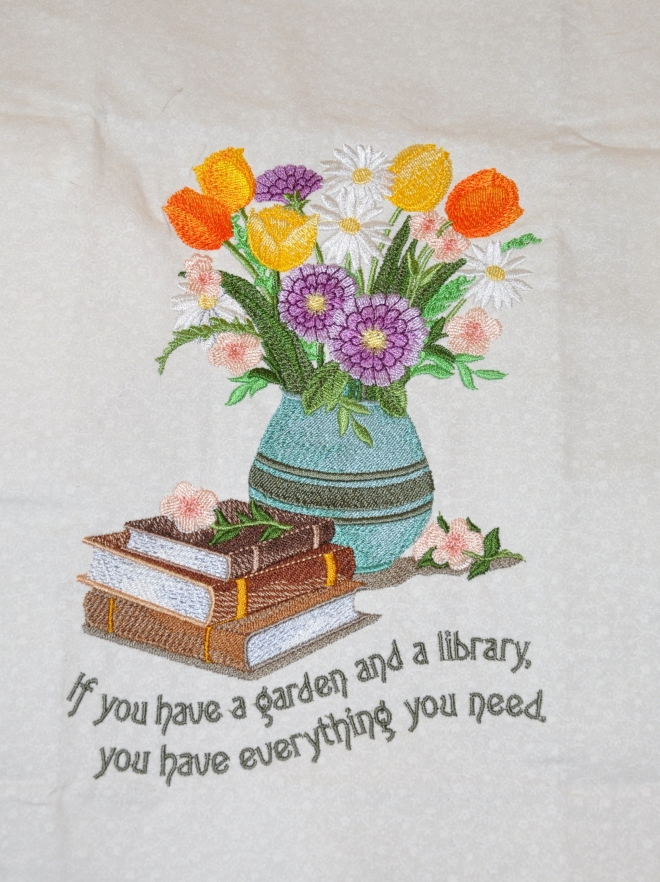 Marlene's embroidery books and flowers