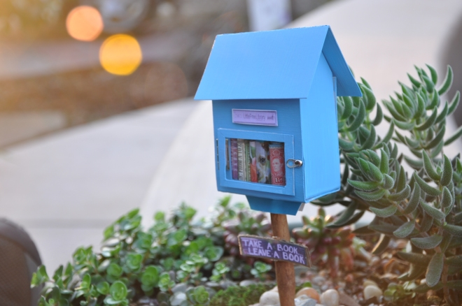 Miniature Blue Little Free Library