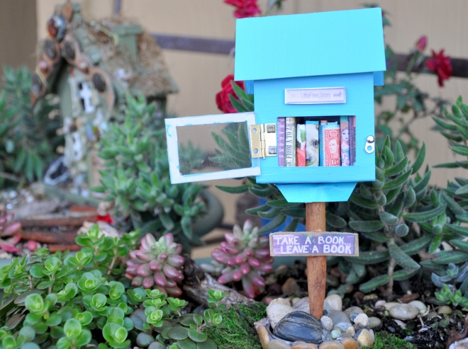 mini little free library open door