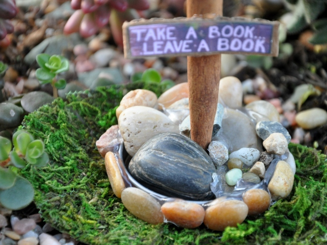 mini little free library take a book sign