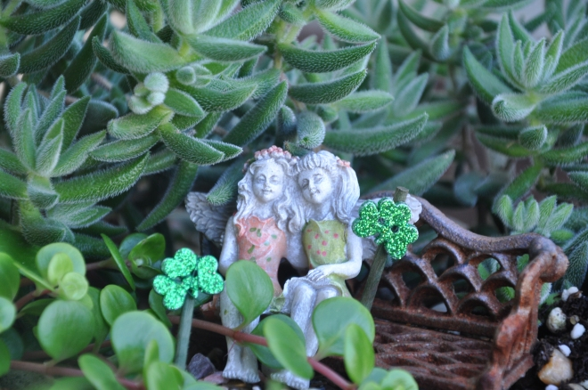 fairy garden fairies on St. Patrick's day