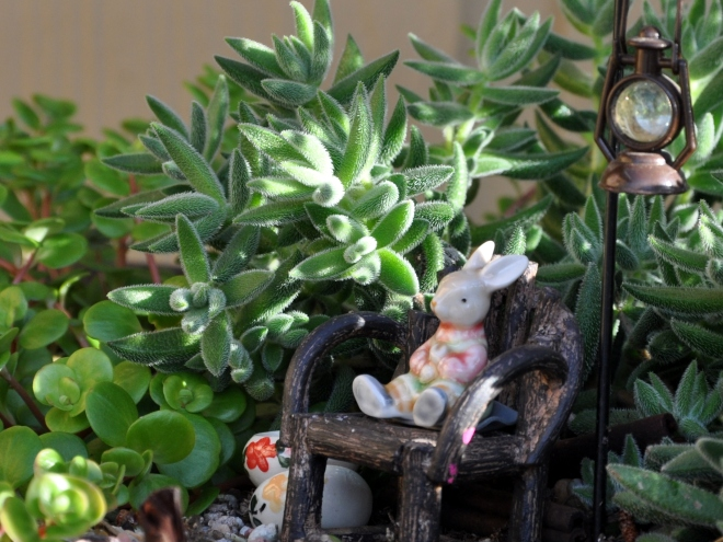 fairy garden with ceramic bunny