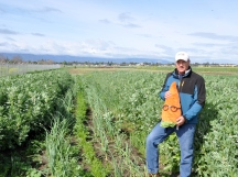 David Tuttle poses with Gardenerd amid the Jacobs Farm carrots