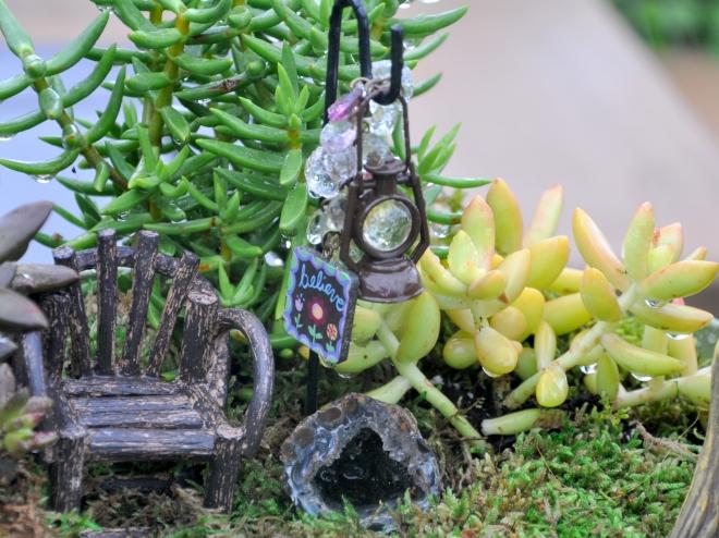 fairy garden chair and lantern