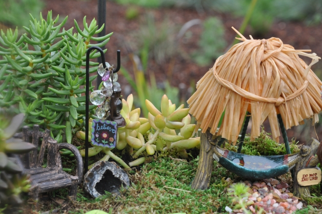 fairy garden hut with canopy