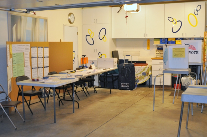 Our garage the night before the election