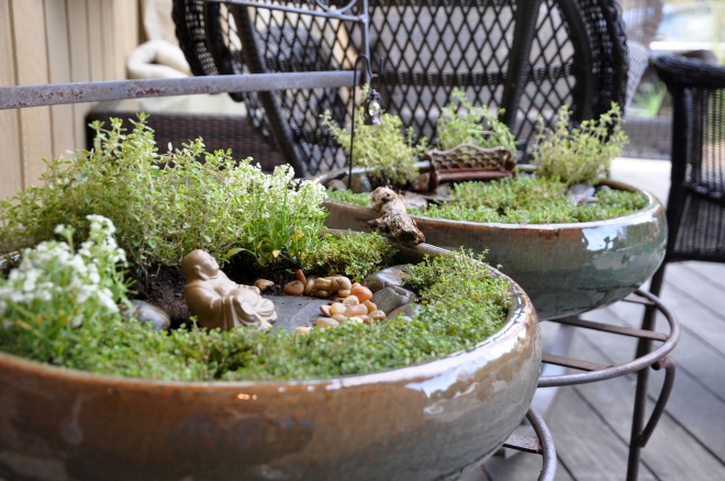 Miniature peace garden at dusk