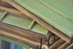 Roof detail: Donna used painting stir sticks for the roof detail