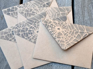 Craft envelopes back flap stenciled with black ink