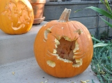 Mike carved this the first time, the squirrel added his own interpretation.
