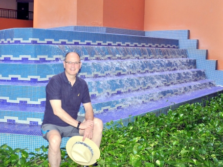 Mike next to the fountain outside of our room