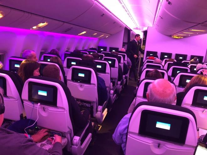 lavender lights aboard air new zealand