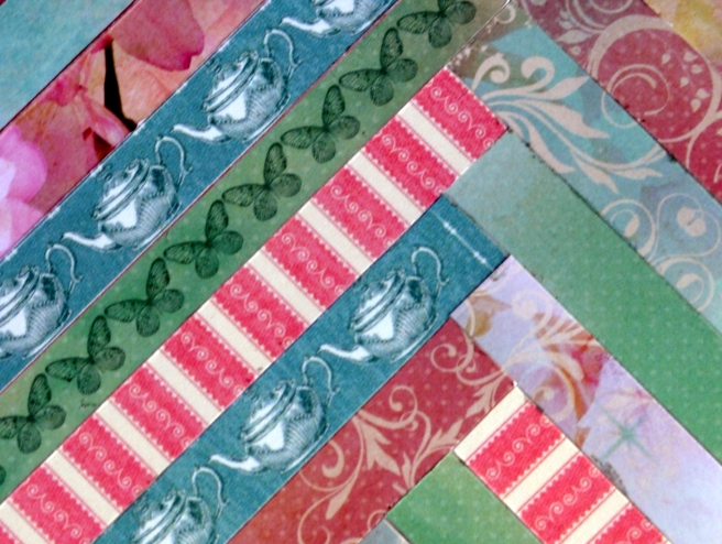 ScrapHappy strip quilt card closeup