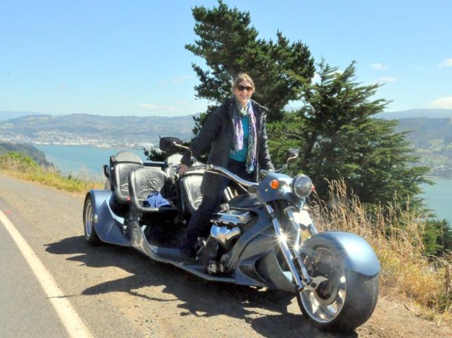 on the trike near Otago Harbour