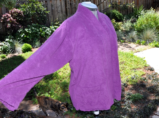 altered purple terry robe