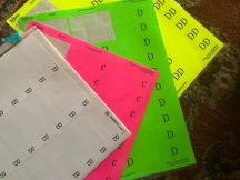Color-coded labels for donated bras