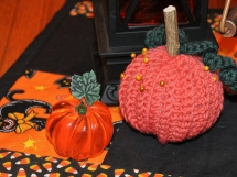 The crocheted pumpkin is a gift from fellow blogger Cathy