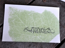 Pumpkin leaf impression on watercolor postcard, stamped with archival black ink