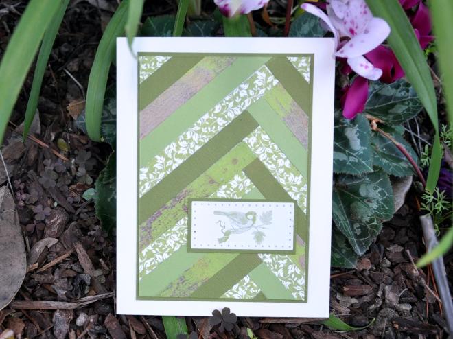 Green strip quilt card